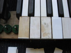 Challen grand piano front ivory key tops repair from Mrs P in Canvey Island.