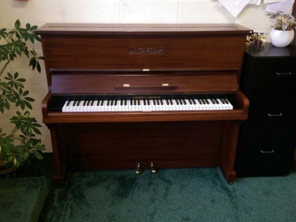 Hodges & Johnson Piano With Mahogany Carved Marquetry - £895 - H 119 / L 149 / D 56cm