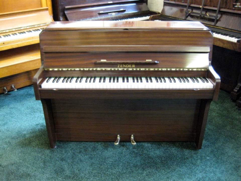 Zender Compact Full Size Piano In Medium Mahogany - £1200 - H 98 / L 128 / D 51cm