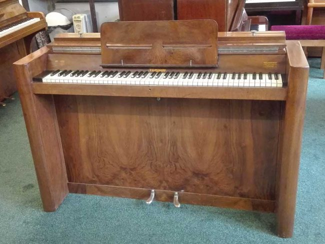 Eavestaff mini piano produced by The Brasted piano dealers in 1930s, this the pinnacle of the art deco piano era.